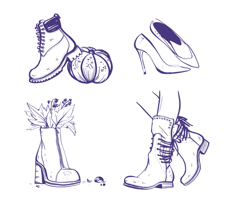 Vector hand drawn set of trendy fashion illustration with autumn / spring female shoe and boots isolated on white background. Marker sketch style. Perfect for banner, ad, flayer, tag, packaging etc. 向量圖像