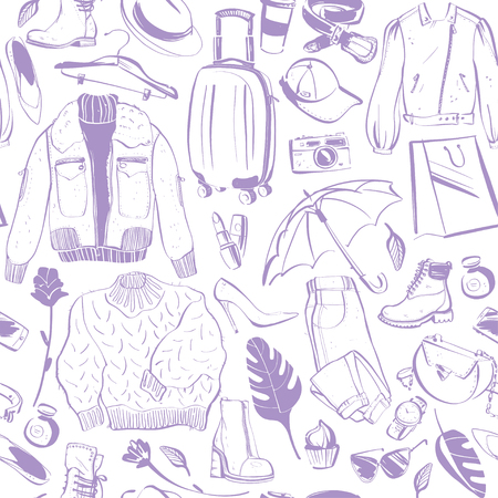 Vector seamless pattern for fashion and autumn & winter shopping theme with women accessory & clothing isolated - shoe, jacket, bag, perfume, hat, boots, umbrella. Good for packaging design, ad, tag. Foto de archivo - 127631263