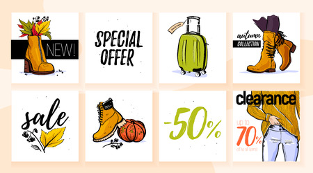 Vector collection of trendy autumn sale with female wardrobe clothing & accessory elements: sweater, boot, bag, jeans isolated on white background. Hand drawn sketch style. Good for card, sale tag, ad Illustration