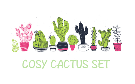 Vector collection of hand drawn different cactus shapes standing in a row isolated on white background. Trendy sketch style. Perfect for patterns, decor, cards, packaging, logo, banners, ads, prints. Logo