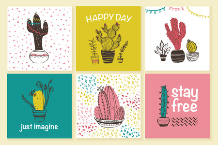 Vector collection of cute cards with hand drawn doodle trendy abstract patterns and cactus in pots isolated on white background. Text space, greeting. Sketch style. Good for prints, banners, tags etc. Foto de archivo - 127257439