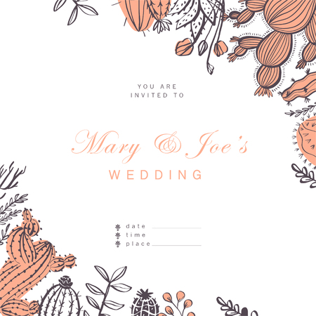 Vector wedding invitation, card, tag design template - text place, frame with cactus, branches, floral elements arrangements isolated on white background. Hand drawn sketch style. Foto de archivo - 127257443