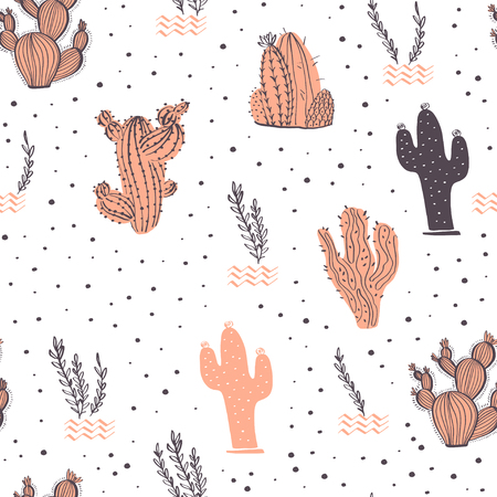 Vector seamless pattern with cactus, branches, floral & abstract elements isolated on white background. Hand drawn sketch style. Good for packaging, tag, card, wedding & nursery decor etc. Foto de archivo - 127257445