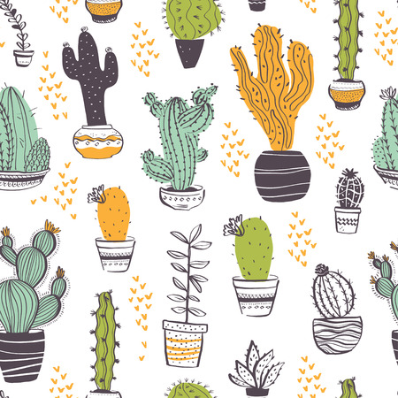 Vector seamless pattern with cactus, succulent, aloe, branches, floral elements isolated on white background. Hand drawn sketch style. Good for packaging, tag, card, wedding & nursery decor etc. Foto de archivo - 127257446
