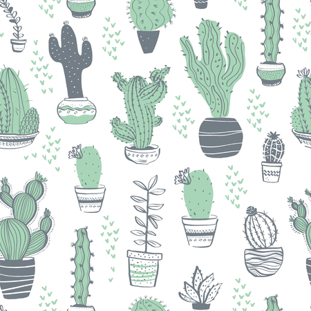 Vector seamless pattern with cactus, succulent, aloe, branches, floral elements isolated on white background. Hand drawn sketch style. Good for packaging, tag, card, wedding & nursery decor etc. Foto de archivo - 127257447