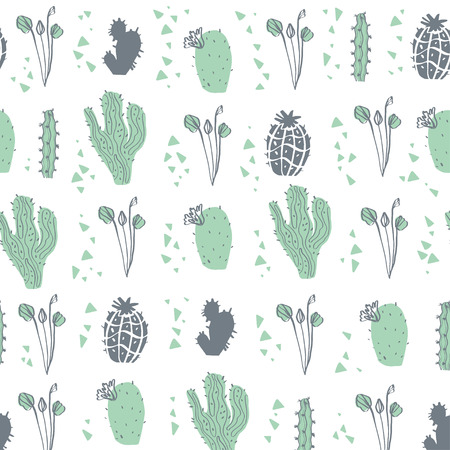 Vector seamless pattern with cactus, branches, floral & abstract elements isolated on white background. Hand drawn sketch style. Good for packaging, tag, card, wedding & nursery decor etc. Foto de archivo - 127257448