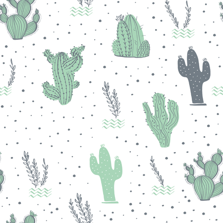 Vector seamless pattern with cactus, branches, floral & abstract elements isolated on white background. Hand drawn sketch style. Good for packaging, tag, card, wedding & nursery decor etc. Foto de archivo - 127257449