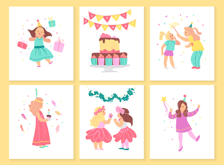 Vector collection of girls birthday party cards with bd cake, garlands, decor elements and happy kids characters. Flat cartoon style. Good for invitation, tags, posters etc. Foto de archivo - 127138650