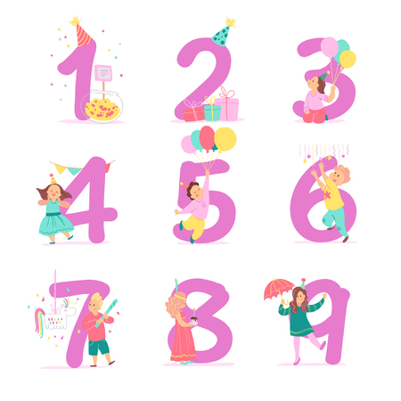 Vector collection of birthday party numbers with happy kid characters celebrating and party hats, gifts, candy, pinata, decor elements. Flat cartoon style. Good for cards, party invitations, tags etc.