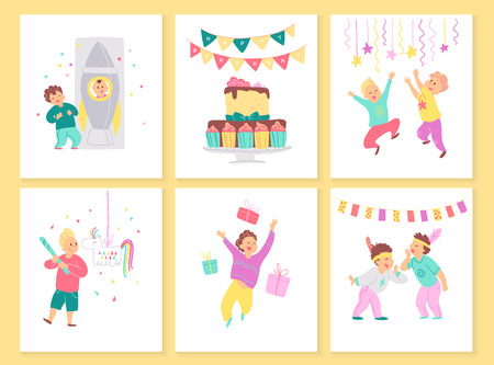 Vector collection of boys birthday party cards with bd cake, garlands, decor elements and happy kids characters. Flat cartoon style. Good for invitation, tags, posters etc. Foto de archivo - 127138652