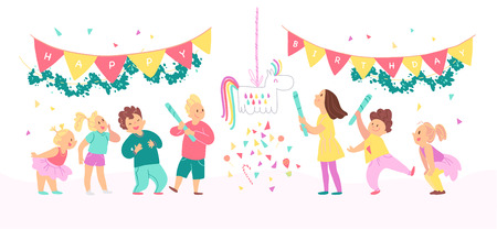 Vector collection of birthday party happy kids with balloons, pinata playing and celebrating isolated on white background. Flat hand drawn cartoon style. Good for card, pattern, tag, invitation etc. Foto de archivo - 127104889