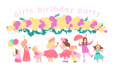 Vector illustration of girls birthday party happy characters celebrating with bd garland, decor elements isolated on white background. Flat cartoon style. Good for invitation, tags, posters etc. Foto de archivo - 127104890