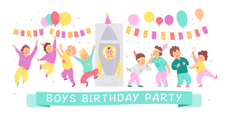 Vector illustration of boys birthday party happy characters celebrating with bd garland, balloons, rocket isolated on white background. Flat cartoon style. Good for invitation, tags, posters etc. Foto de archivo - 127104891