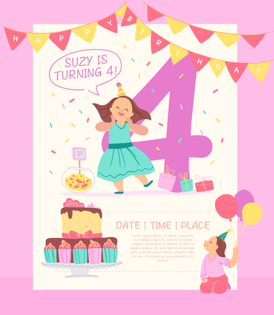 Vector invitation  design template for birthday party with bd cake, garlands, candy, gifts, balloons, big 4 and happy girls characters. Flat cartoon style. Party poster, card, banner illustration. Standard-Bild - 116860155