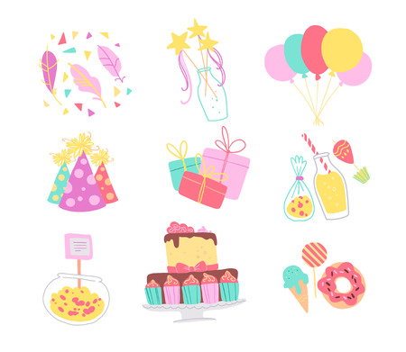 Vector collection of birthday party decor elements - confetti, hat, magic wand, bd cake, candy, balloons, gifts isolated. Flat cartoon style. Good for cards, invitations, patterns, tags, banners etc. Foto de archivo - 127041538