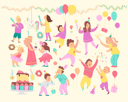 Vector set of happy kids celebrating birthday party and different decor elements - garlands, bd cake, candy, balloons, gifts isolated. Flat cartoon style. Good for cards, invitations, patterns, tags. Foto de archivo - 127041539