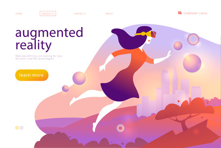 Vector landing page design template for new vr technology - woman in vr goggle headset, helmet, glasses flying into augmented virtual reality world. Flat style. For web page banner, mobile app, UI Vektoros illusztráció