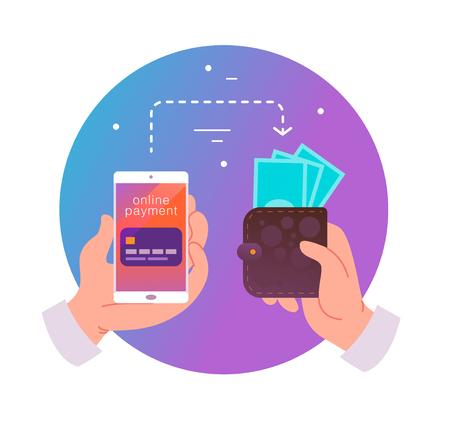 Illustrazione vettoriale piatta per pagamenti online e transazioni con mano umana che tiene smartphone con carta di credito sul suo schermo e portafoglio con contanti. Perfetto per banner di app mobili, design di landing page.