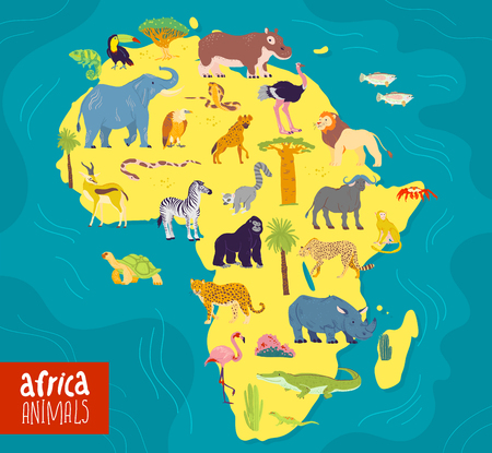 Vector flat illustration of Africa continent, animals and plants: elephant, rhino, monkey, zebra, crocodile, flamingo, turtle and palm tree, cactus etc. Good for infographics, children book, banners. 向量圖像