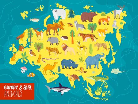 Vector flat illustration of Europe & Asia continent, animals & plants: polar bear, moose, squirrel, wolf, elephant, tiger, rhino, crocodile, jaguar etc. Good for infographics, children book, banners.