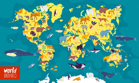 Vector flat illustration of world map with sea, oceans, continents and local animals & plants: polar bear, fox, squirrel, wolf, elephant, tiger, fish etc. Good for infographics, children book, banners Фото со стока - 122107854
