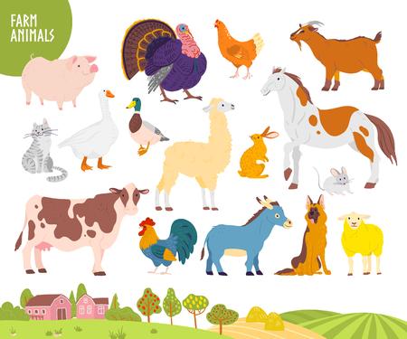 Vektorsatz von Nutztieren: Schwein, Huhn, Kuh, Pferd usw. mit gemütlicher Dorflandschaft, Haus, Garten, Feld. Weißer Hintergrund. Flacher handgezeichneter Stil. Für Etikett, Banner, Logo, Buch, Alphabetillustration Logo