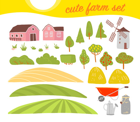 Vector collection of cozy farm elements: house, garden, trees, field, haystack, windmill isolated on white background. Flat hand drawn style. Good for label, alphabet, book illustration, banners, logo
