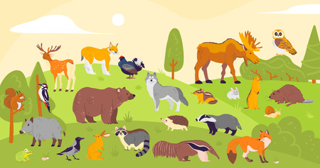 Vector collection of forest animals and birds: bear, fox, hare, owl isolated on woodland landscape background. Flat hand drawn style. Good for children book illustration, alphabet, banner, zoo etc.