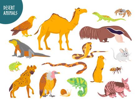Colección de vectores de animales del desierto dibujados a mano plana, reptiles, insectos: camello, serpiente, lagarto aislado sobre fondo blanco. Para niños, ilustración de libros, alfabeto, emblemas de zoológico, pancartas, infografías.