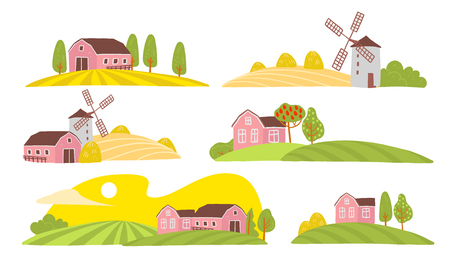 Vector collection of cozy farm landscape view: house, garden, trees, field, haystack, windmill isolated on white background. Flat hand drawn style. For label, farmer market illustration, banner, logo. Çizim