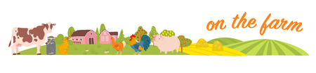 Vector set of farm animals: pig, chicken, cow, rabbit with cozy village landscape, house, garden, fields. White background. Flat hand drawn style. For label, banner, logo, book, alphabet illustration.