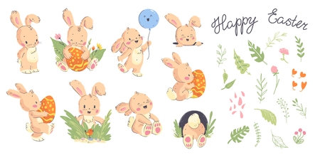 Vector collection of hand drawn cute little rabbit character poses, Happy easter congratulation and floral decorative elements isolated on white background. Good for holiday cards, banners, tags etc.