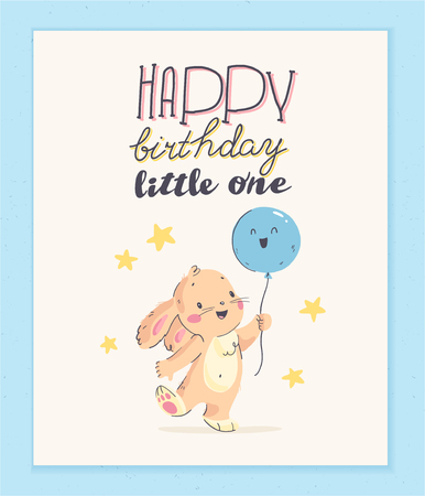 Vector happy birthday congratulation card design with cute little baby rabbit hold air balloon and text congratulation isolated on light background. Good for HB card, baby shower party invitation etc. Иллюстрация