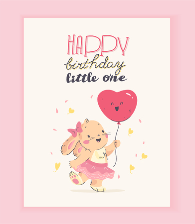 Vector happy birthday congratulation card design with cute little baby rabbit girl hold air balloon and text congratulation isolated on light background. For HB card, baby shower party invitation etc.