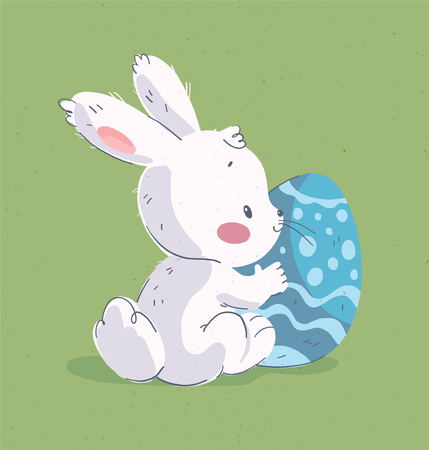 Vector hand drawn illustration with cute little baby rabbit & big easter egg isolated on green background. For happy Easter congratulation, birthday party card, nursery print, baby shower poster, tag.