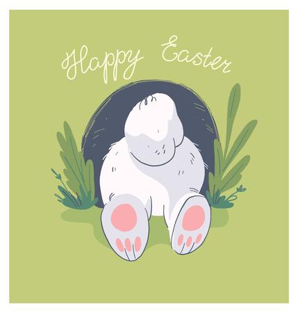 Illustration vectorielle dessinés à la main avec un joli petit cul de lapin bébé dans un trou isolé sur fond. Bon pour joyeuses pâques belle carte, impression de fête de naissance, affiche d'anniversaire, étiquette, bannière, autocollant, etc.