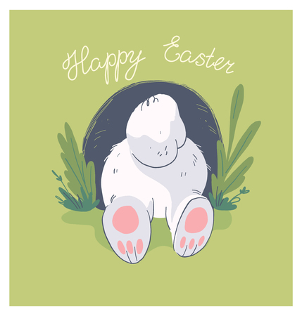 Vector hand drawn illustration with cute little baby rabbit butt in hole isolated on background. Good for happy easter lovely card, baby shower party print, birthday poster, tag, banner, sticker etc. Stock Illustratie