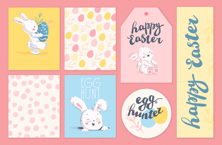 Vector collection of Easter holiday congratulation cards, tags, stickers with lettering, cute little bunny character with easter eggs isolated. Flat hand drawn style. For holiday gifts, decor, banners