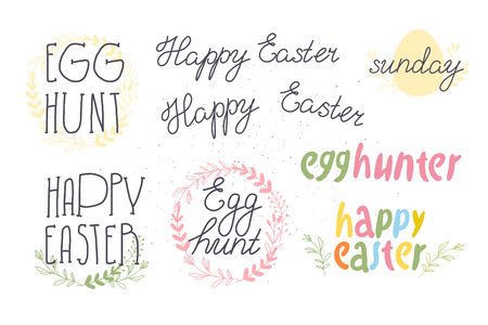 Vector set of Happy Easter egg hunt congratulation isolated on white background. Collection of hand drawn inscriptions and decorative elements for holiday cards, patterns, gift decor, prints, tag etc. Banco de Imagens - 122107876