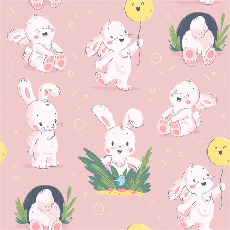 Vector flat seamless background with easter little baby bunny character & hand drawn decorative elements isolated on pastel pink background. For card, invitation, packaging design, nursery, print etc. Ilustrace