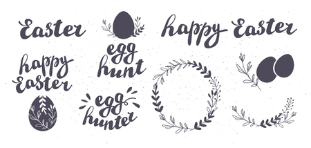 Vector set of Happy Easter egg hunt congratulation isolated on white background. Collection of hand drawn inscriptions and decorative elements for holiday cards, patterns, gift decor, prints, tag etc. Banco de Imagens - 124386142
