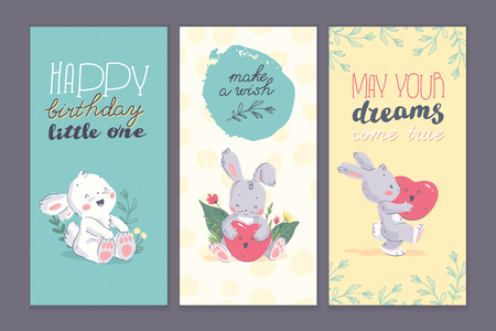 Vector set of happy birthday congratulation cards with floral hand drawn elements, cute little baby bunny character, heart shape balloon isolated. Good for gift decor, bd party invitation, baby shower