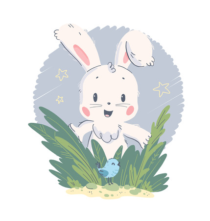 Vector hand drawn illustration with cute little baby rabbit and small bird in grass isolated on white background. Good for lovely baby shower party card, nursery print, HB poster, tag, banner, sticker