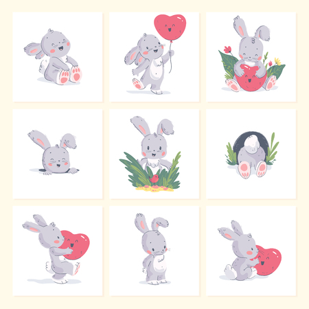 Vector set of hand drawn illustration of cute little baby rabbit with heart shape balloon isolated on background. Good for birthday lovely card, nursery print, vday poster, tag, banner, love sticker.
