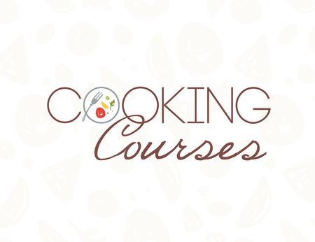 Modello di progettazione del logo di corsi di cucina vettoriale con piatto, forchetta, cibo sano isolato su sfondo chiaro. Stile piatto. Buono per corsi di cucina mondiale, classi principali, pubblicità di ristoranti, banner Logo