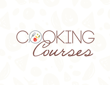 Vektor-Kochkurse-Logo-Design-Vorlage mit Teller, Gabel, gesundes Essen isoliert auf hellem Musterhintergrund. Flacher Stil. Gut für Weltküchenkurse, Chefklassen, Restaurantwerbung, Banner Logo