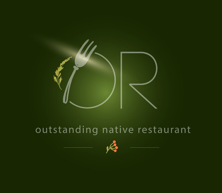 Vector stylish eco food restaurant logo design template isolated on dark green background. Fork, plate and herb elements. For restaurant, catering, cafe, menu, packaging, label, eco food market, shop. Logo
