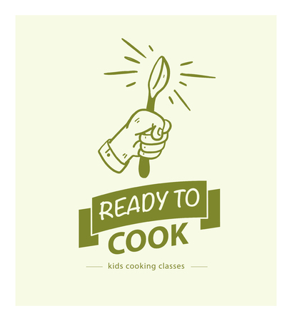 Vector cooking classes logo design template with hand drawn hand, spoon, ribbon icon isolated on light green background. For culinary workshop emblem, online cooking courses, restaurant cooking class.