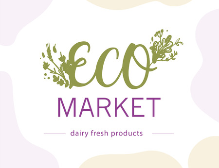 Vector eco market food logo design template isolated on white background. For farmers market, healthy products shop, local eco food fair, bio food store emblem, insignia.