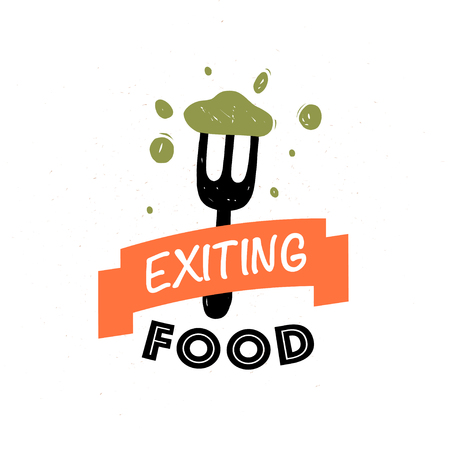 Vector food logo design template: text, ribbon, fork, tasty food isolated on white background. For fast food cafe, restaurant, catering, food delivery, cuisine classes emblem, insignia, badge, menu.